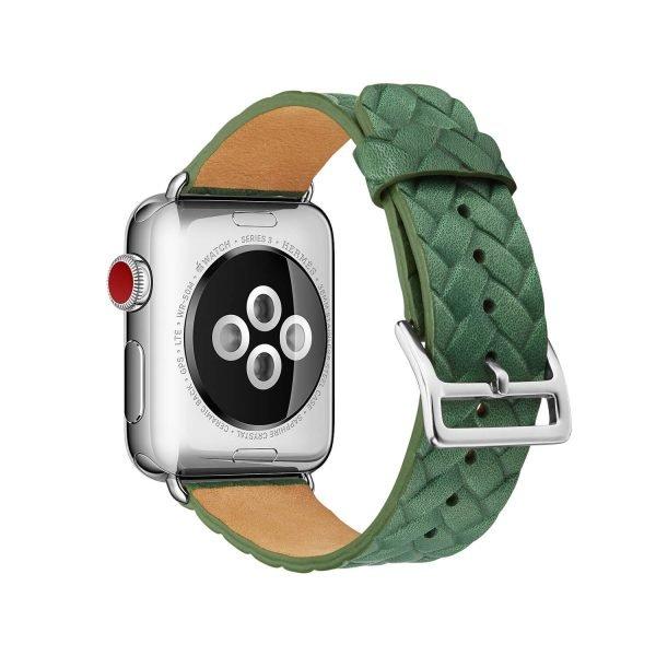 Apple-Watch-bandje-leer-groen-gevlochten-met-zilverkleurige-gesp-2.jpg
