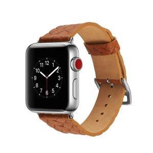 Apple-Watch-bandje-oranje-vleer-gevlochten-met-zilverkleurige-gesp-1.jpg