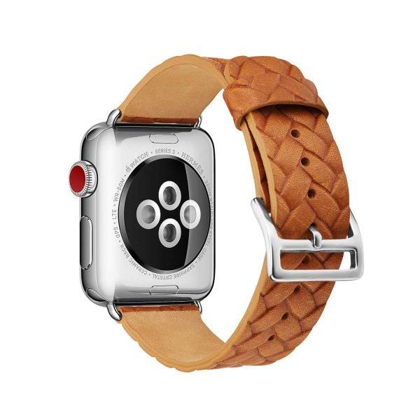 Apple-Watch-bandje-oranje-vleer-gevlochten-met-zilverkleurige-gesp-2.jpg