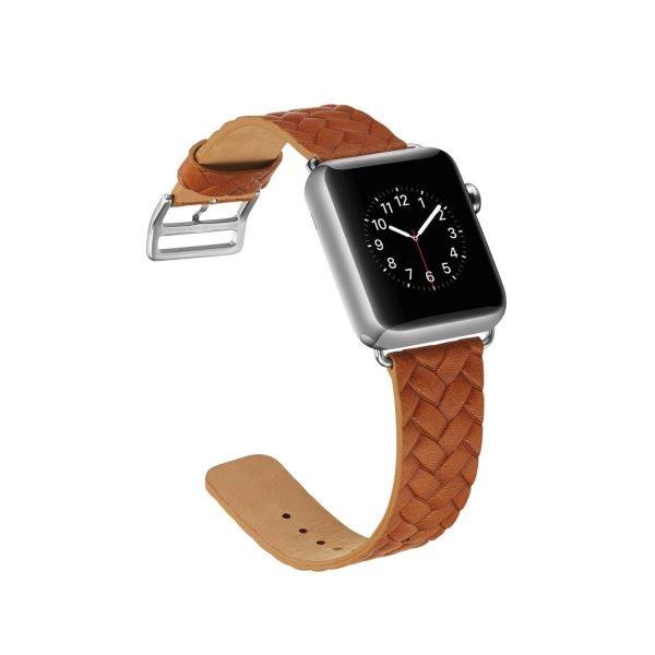 Apple-Watch-bandje-oranje-vleer-gevlochten-met-zilverkleurige-gesp-4.jpg