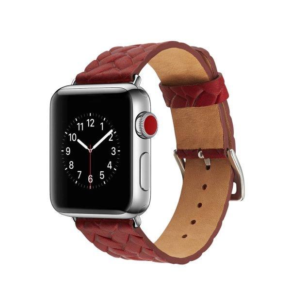 Apple Watch bandje rood vleer gevlochten met zilverkleurige gesp 1