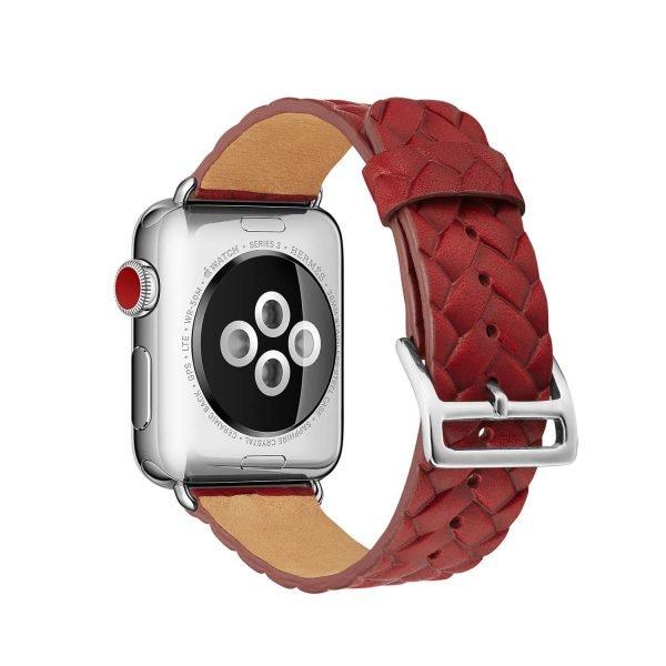 Apple-Watch-bandje-rood-vleer-gevlochten-met-zilverkleurige-gesp-2.jpg
