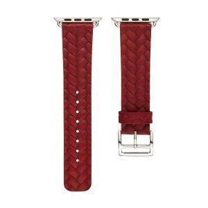 Apple-Watch-bandje-rood-vleer-gevlochten-met-zilverkleurige-gesp-3.jpg