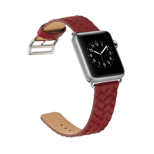 Apple-Watch-bandje-rood-vleer-gevlochten-met-zilverkleurige-gesp-4.jpg