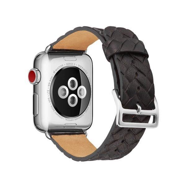 Apple-Watch-bandje-zwart-vleer-gevlochten-met-zilverkleurige-gesp-2.jpg