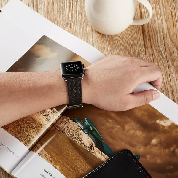 Apple Watch bandje zwart vleer gevlochten met zilverkleurige gesp5