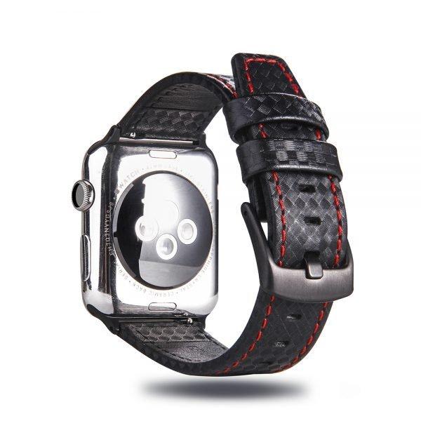 Leren apple watch bandje Zwart Rood met klassieke zwarte gesp 3
