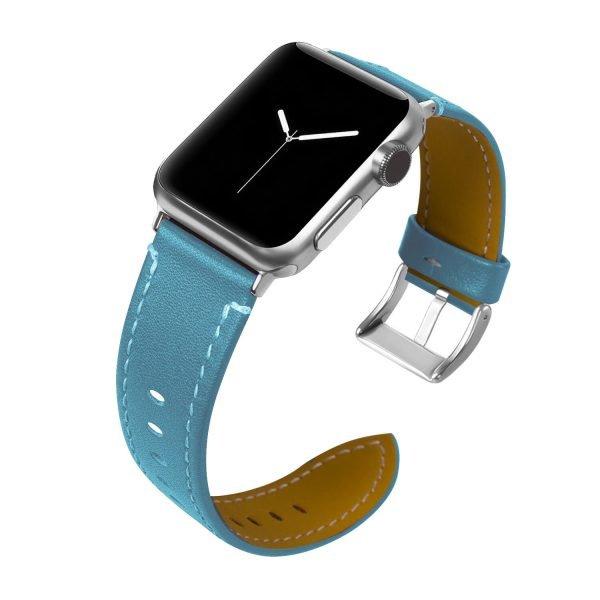 Leren bandje Apple Watch met zilverkleurige gesp donkerblauw 1