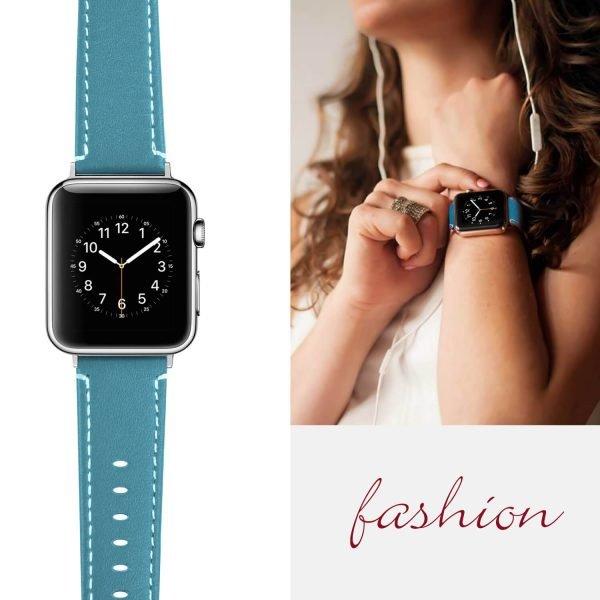Leren bandje Apple Watch met zilverkleurige gesp donkerblauw 6