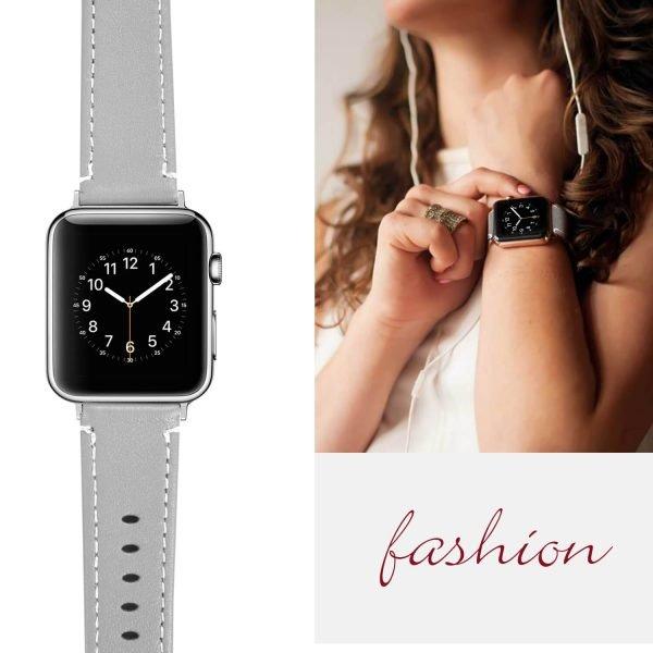 Leren bandje Apple Watch met zilverkleurige gesp grijs 6
