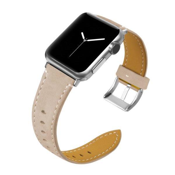 Leren bandje Apple Watch met zilverkleurige gesp lichtroze 1