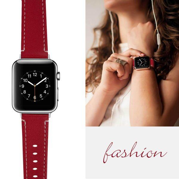 Leren bandje Apple Watch met zilverkleurige gesp rood 6