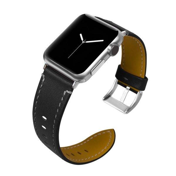 Leren bandje Apple Watch met zilverkleurige gesp zwart 1