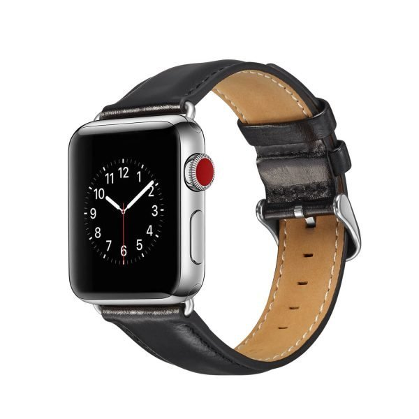 leren apple watch bandje zwart 2