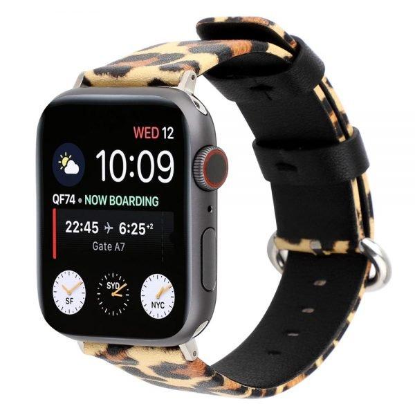 Leopard lederen bandje voor Apple Watch 1-2-3-4-5 38mm - 40mm - 42mm - 44mm geel-bruin_0002003