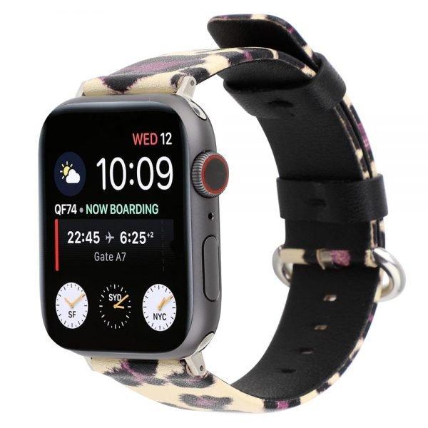 Leopard lederen bandje voor Apple Watch 1-2-3-4-5 38mm - 40mm - 42mm - 44mm geel-paars_0002001