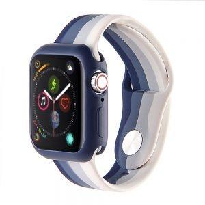Apple watch 4 en 5 bandje 38mm - 40mm small siliconen blauw - grijs -wit_004