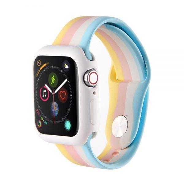 Apple watch 4 en 5 bandje 38mm - 40mm small siliconen geel - roze - wit - blauw_001