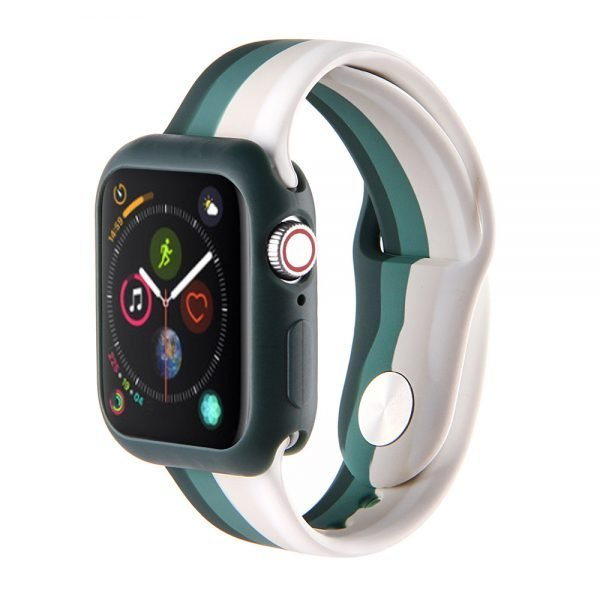Apple watch 4 en 5 bandje 38mm - 40mm small siliconen groen - grijs -wit_001