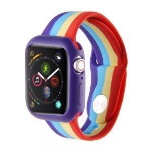 Apple watch 4 en 5 bandje 38mm - 40mm small siliconen met cover paars - groen - geel - rood_001