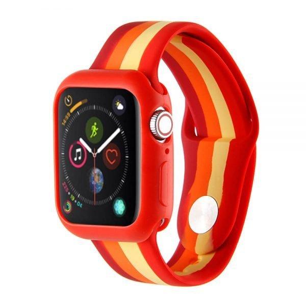 Apple watch 4 en 5 bandje 38mm - 40mm small siliconen rood - oranje - geel_001