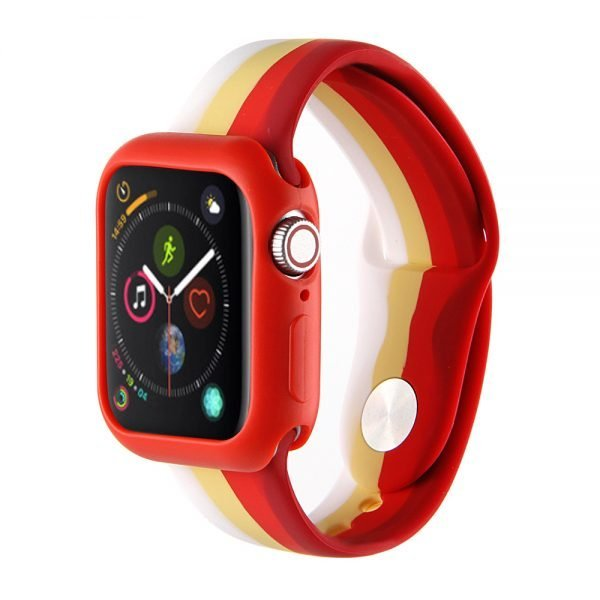 Apple watch 4 en 5 bandje 42mm - 44mm large siliconen wit - geel - rood_001