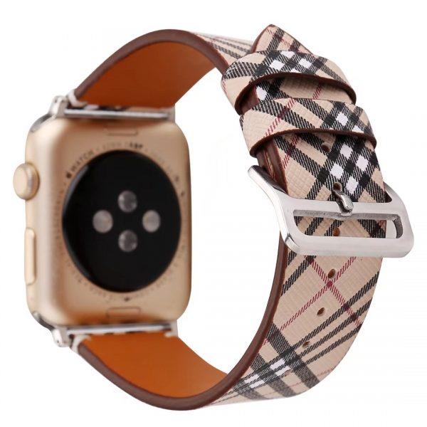 Apple Watch leren bandje Lattice met klassieke zilverkleurige gesp 38mm-40mm beige - zwart - rood_003