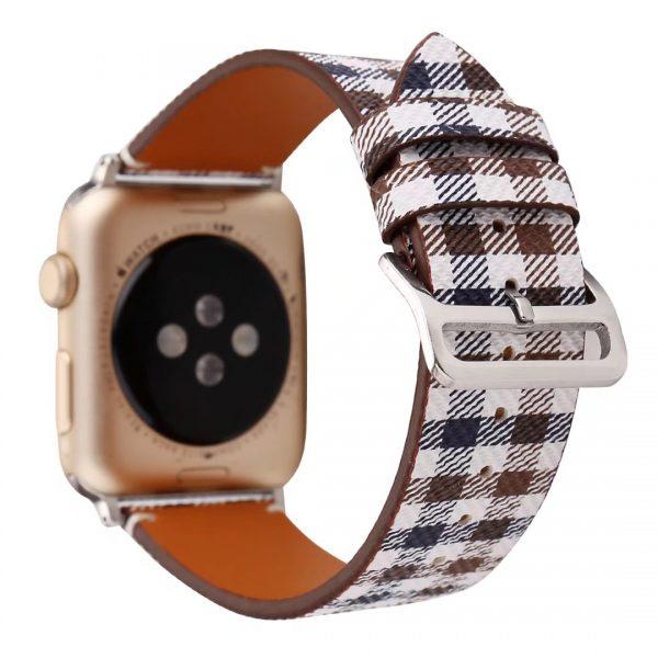 Apple Watch leren bandje Lattice met klassieke zilverkleurige gesp 38mm-40mm wit - blauw - bruin_002