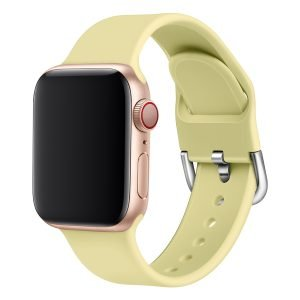 Apple watch bandje silicone met D sluiting 42mm-44mm geel_005