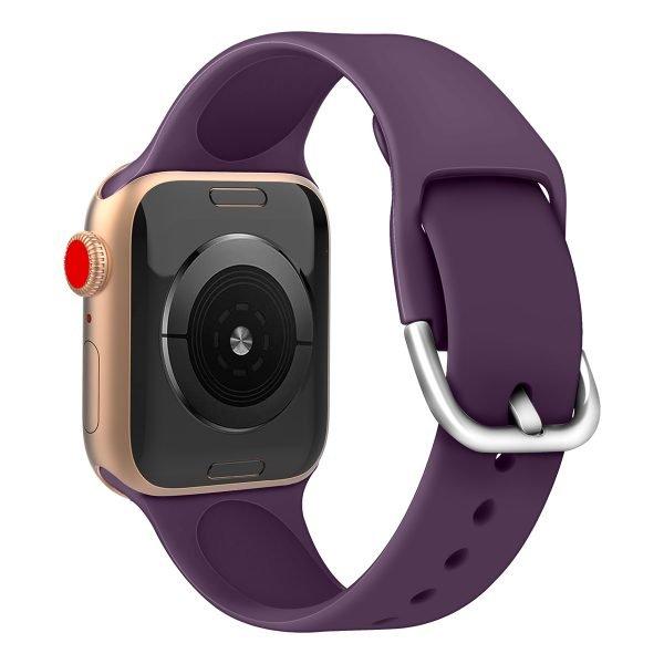 Apple watch bandje silicone met D sluiting 42mm-44mm paars_006