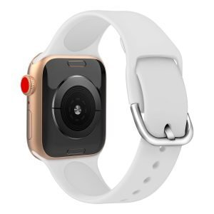 Apple watch bandje silicone met D sluiting 42mm-44mm wit_001