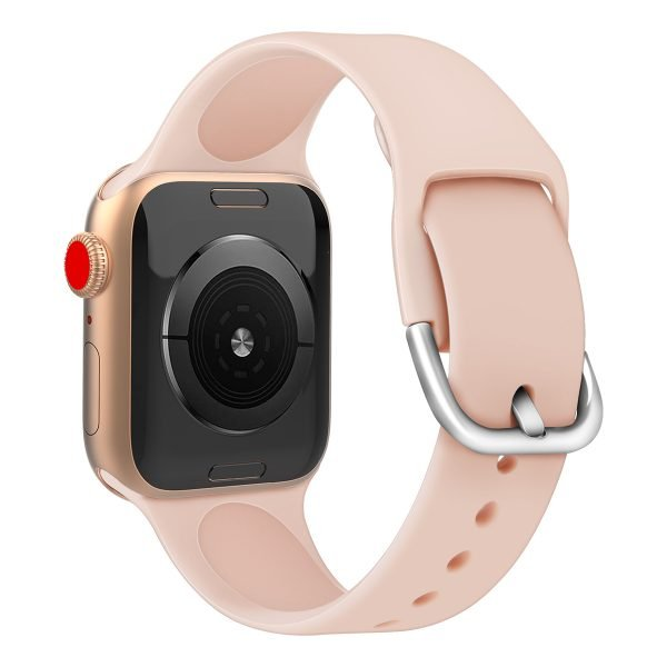 Apple watch bandje silicone met D sluiting 42mm-44mm zalm_002