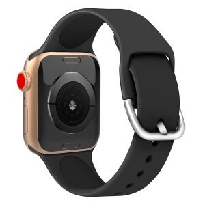 Apple watch bandje silicone met D sluiting 42mm-44mm zwart_006